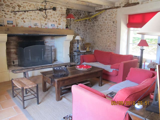 Grand salon avec cheminée, chaîne hifi,TV,lecteur DVD