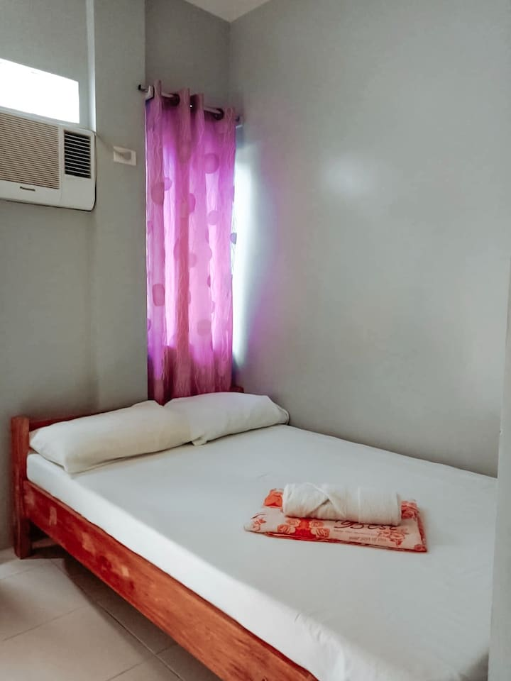Double bed good for 1-2 pax with individual pillow, blanket, bath towel and basic toiletries.