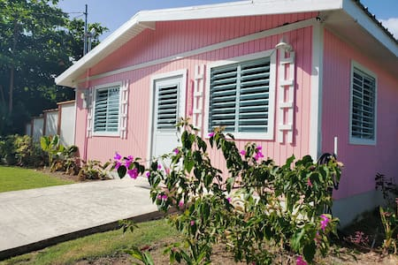 Pink House with View to Peak of Yunque Rainforest