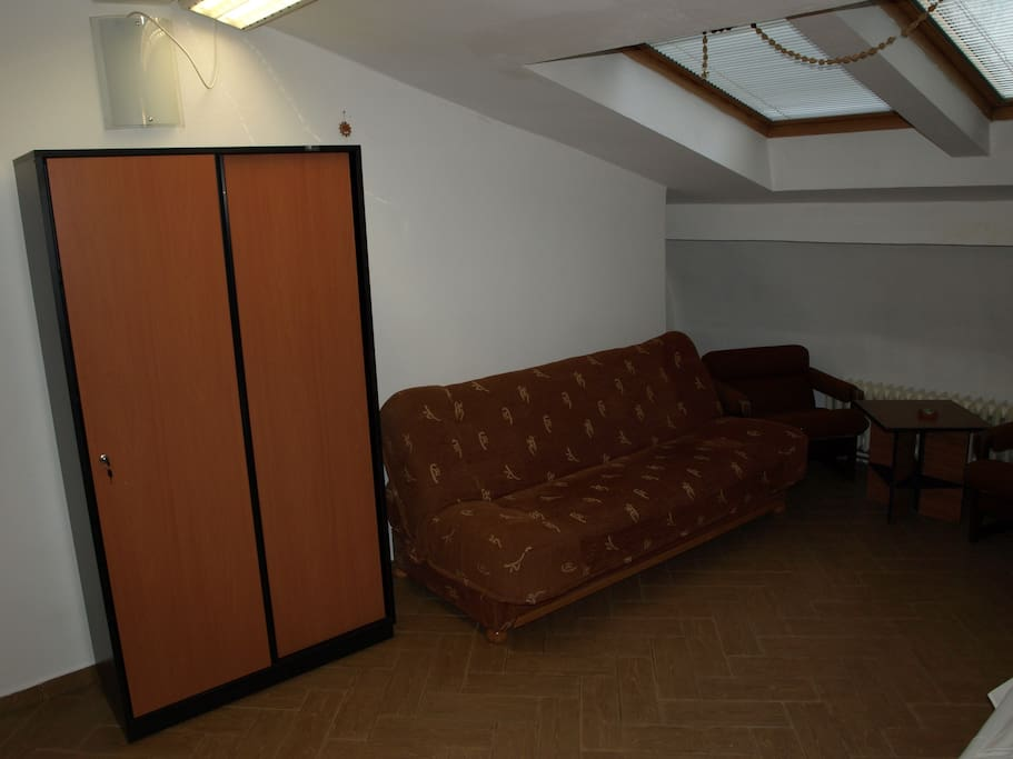 Wardrobe, sofa, chairs