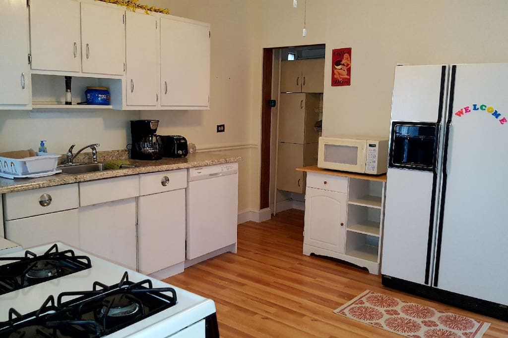 Large, fully-equipped kitchen.