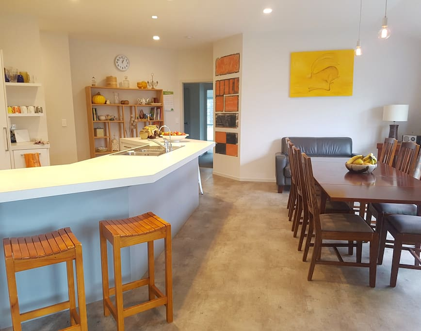 Spcaious, open plan kitchen and dining area