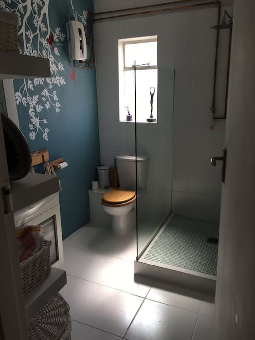 Newly tiled Bathroom with stand alone shower