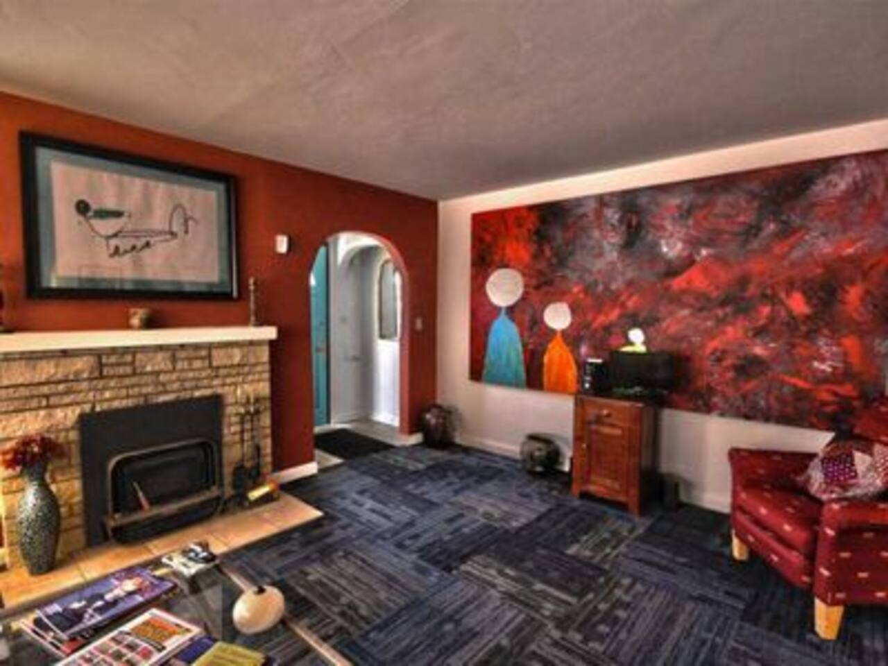 Litsey's Apartment/Home all new carpet, paint, with fireplace. Book today. 2. Bedrooms full kitchen. This is the living room. New TV, with HBO and sports channels. 24/7 security system.