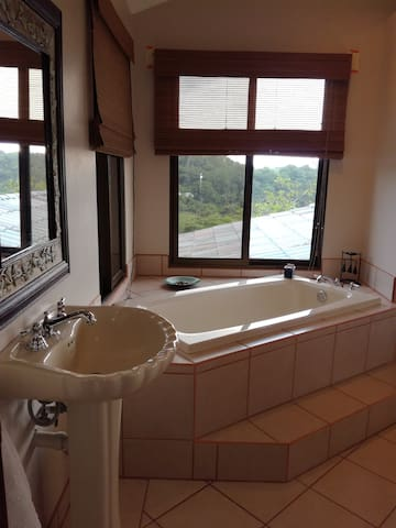 Hot tub in the master bedroom.