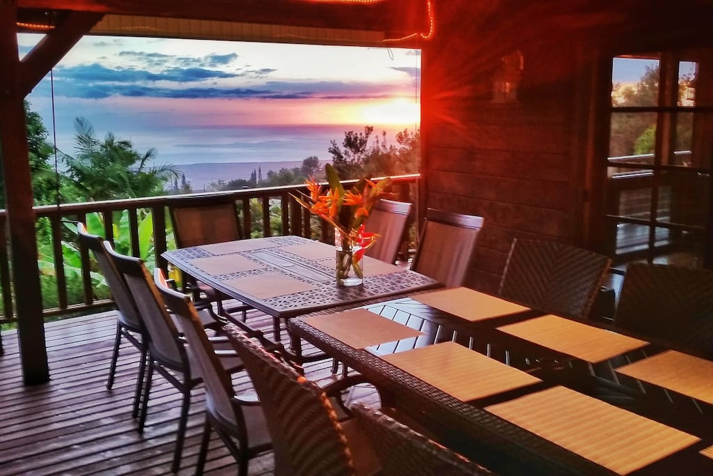 Dining Lanai seats 14, more in a pinch. Enjoy the sunset or roll down the shade