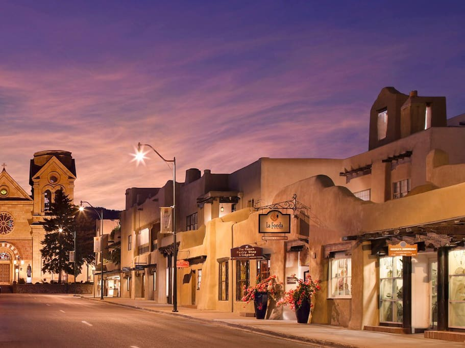 Downtown Santa Fe is a 10 minute walk from our home.