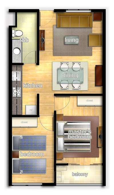 56 sqm floor plan of the condo unit