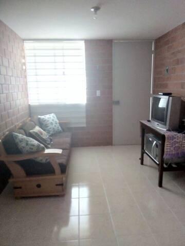 Sofá, televisión y horno de microondas
