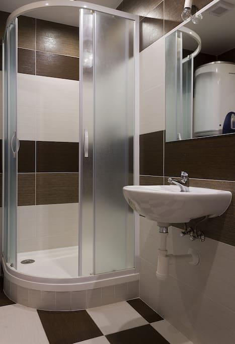 Sprchový kout a umyvadlo v koupelně