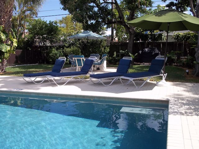 Large, salt system, luxury pool with Pebble Tec finish.  A sun bench and two deep end benches.  Heated in winter.