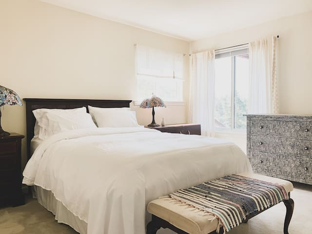 Queen size bed and ample closet space in bedroom