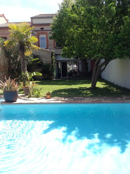 Jardin, piscine et maison.