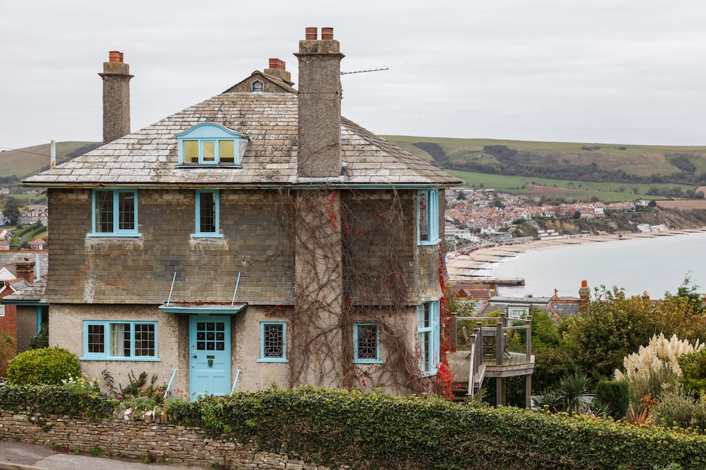 Main house ( Arts & Craft Movement Design- 1883 built) Showing off Swanage Bay as our back drop.