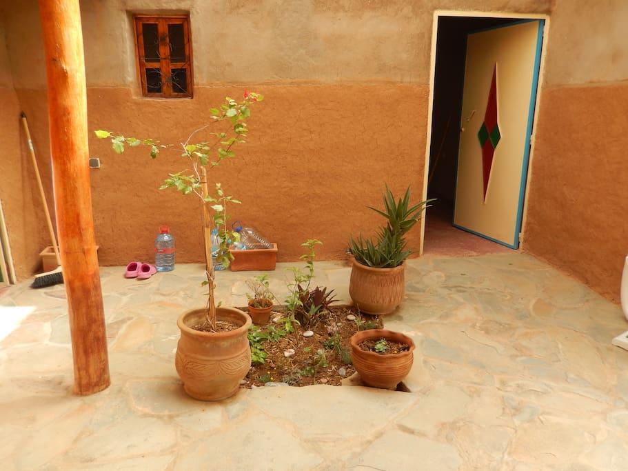 La cour intérieure avec son petit jardin
