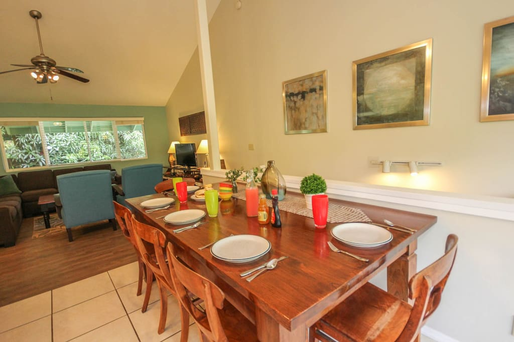 Dining area with living room in the background