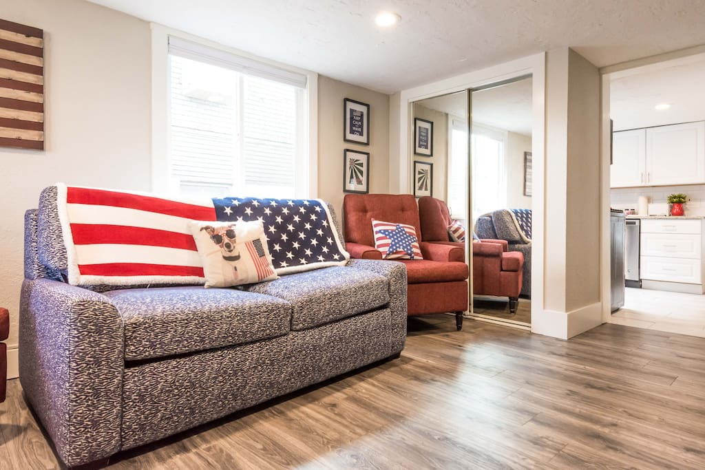 Welcome to the Patriot Pad!                                            Pull out couch with sleepable memory foam mattress.