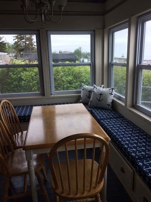 Dining room overlooking the Margaretsville Lighthouse and the Bay of Fundy