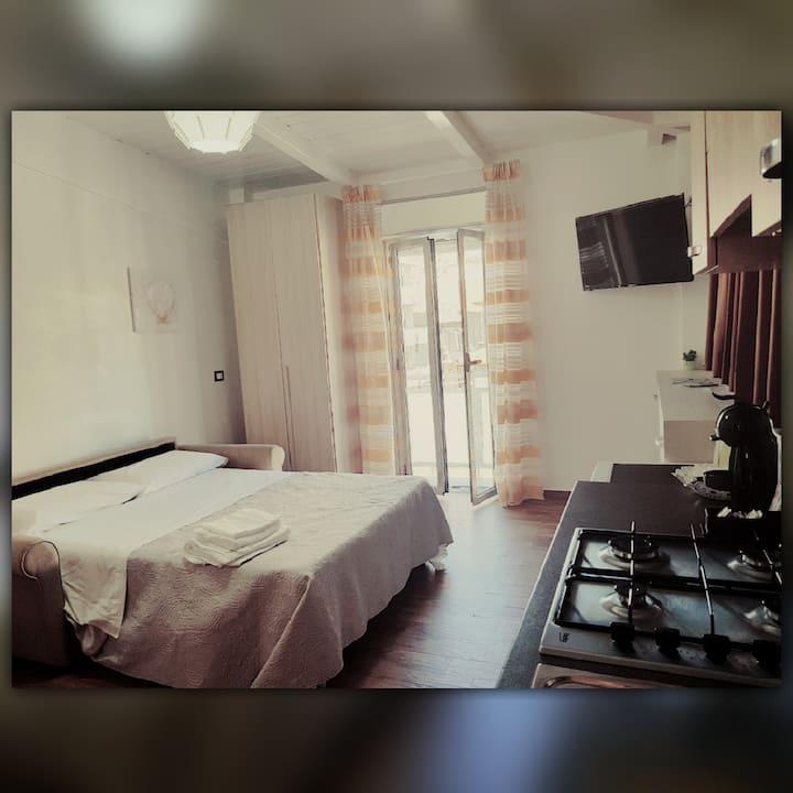 Double room with kitchen, bathroom, balcony.