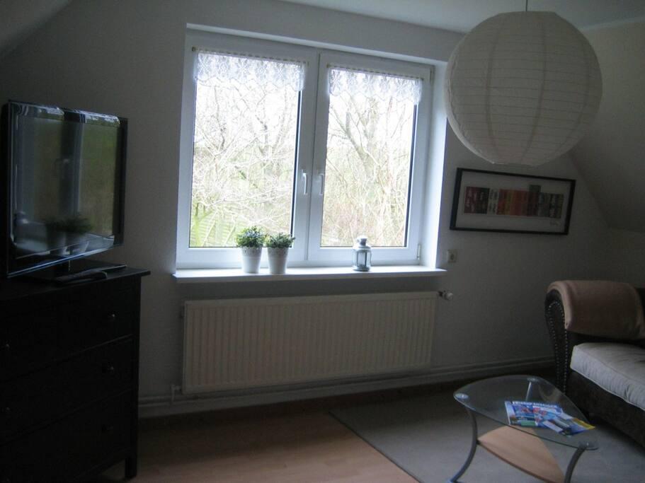 WohnzimmerBlick  mit Flachbildfernseher