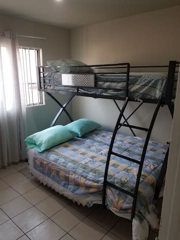 Bunk bed with full size on bottom single on top