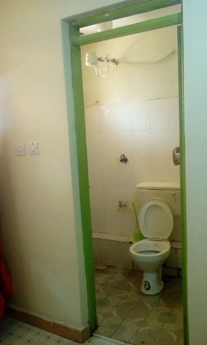 There is a hot shower with consistent water supply, day and night with light,it is clean with toiletries provided