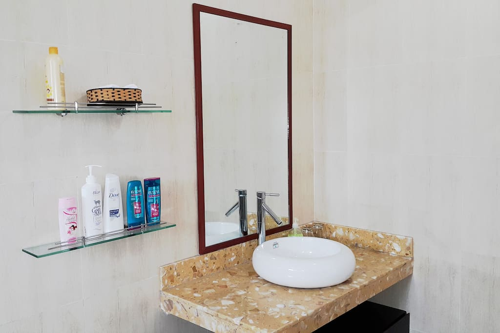 Private bathroom is prepared with shampoo, body soaps, hand soap,...