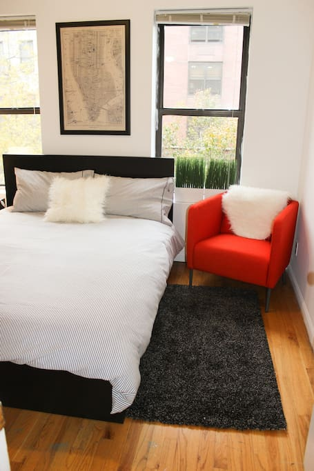 Sleep comfortably or chill out in this hip room