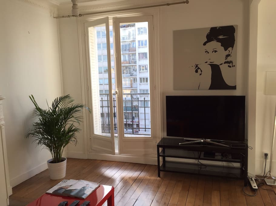 Living/dining room tv and balcony