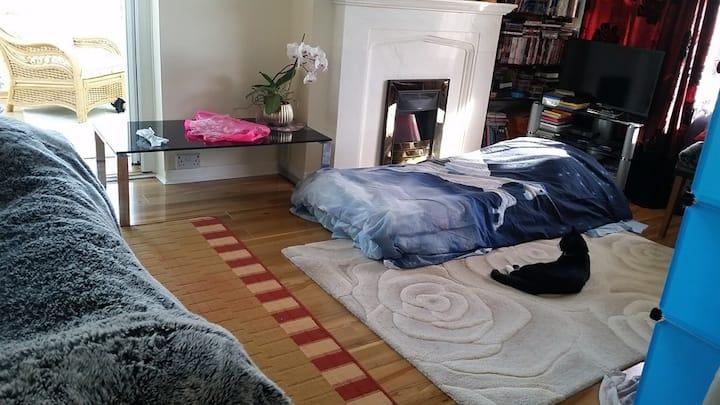 Sunny living room near Signposted corner TT race