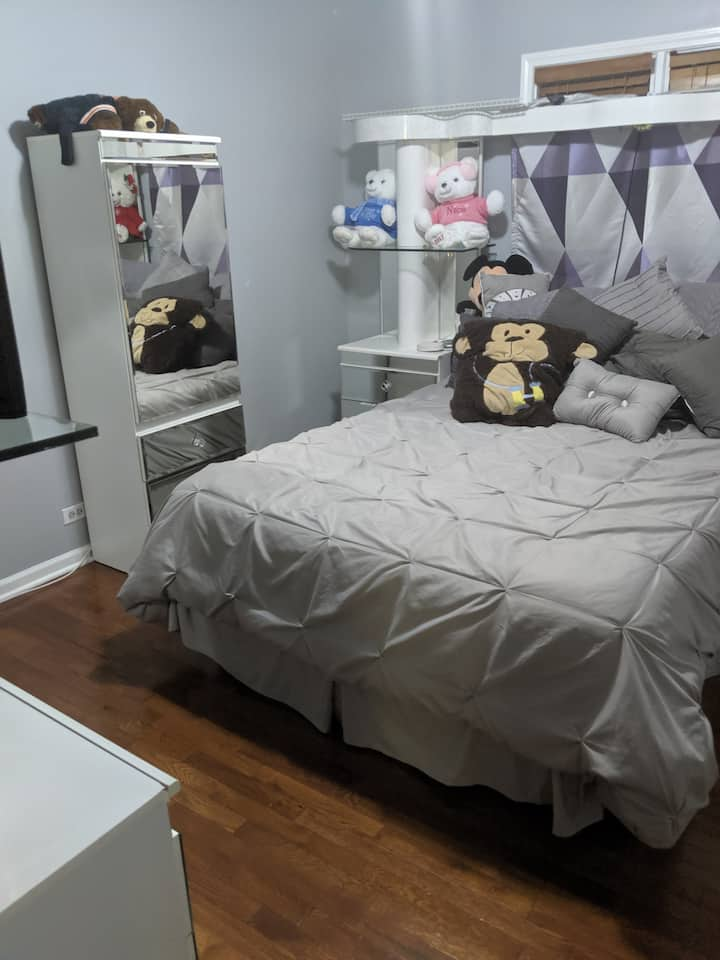 Clean private room close to Midway Airport