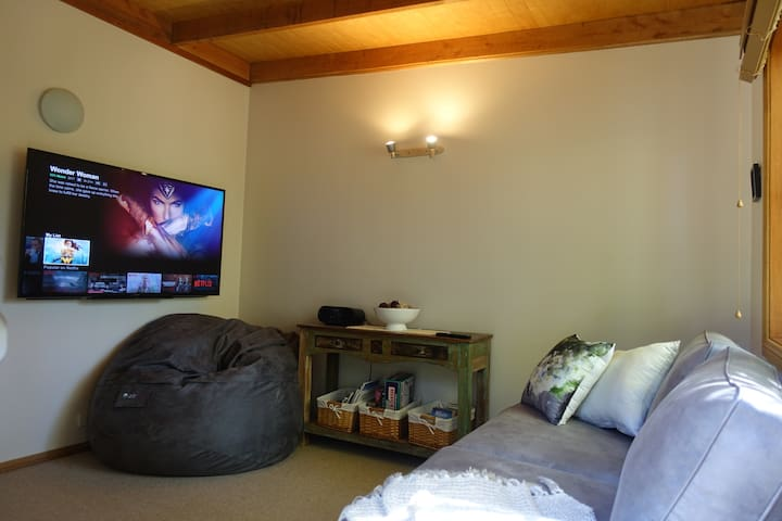 """Media room with 60"""" Sony smart TV, unlimited Netflix account, sofa, board games, and gigantic couples beanbag!"""
