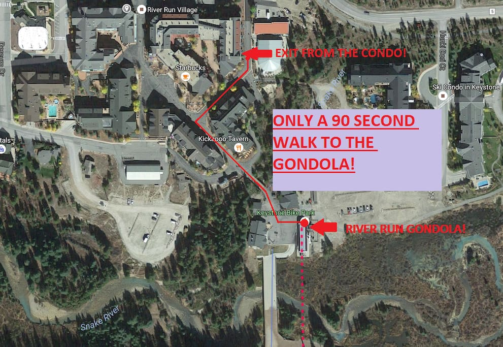 Only 90 Seconds to the River Run Gondola!
