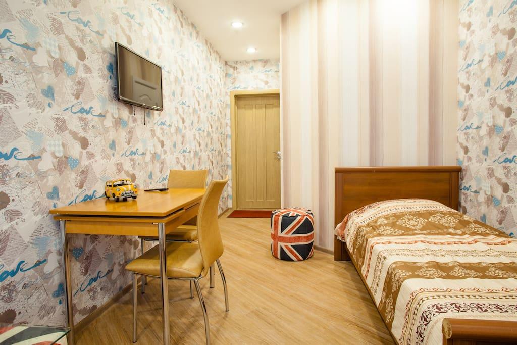 Одноместный номер,кабельное ТВ,ванна,туалет,балкон