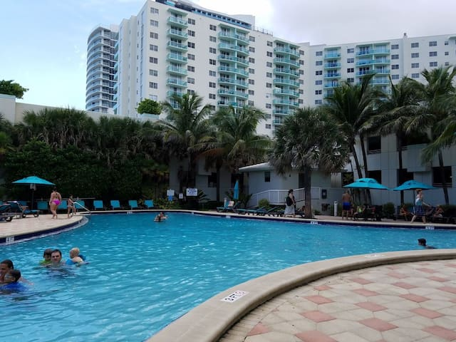 Pool and building