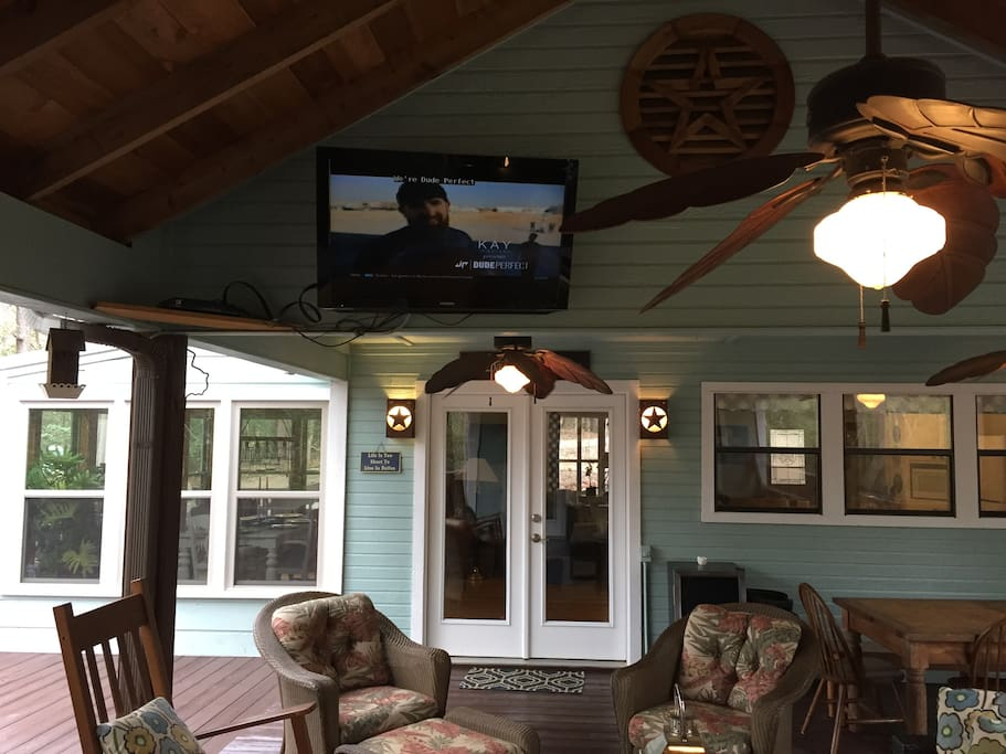 Outside seating with TV on deck