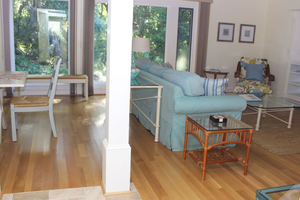 This beautifully renovated home has hardwood floors in the living area.