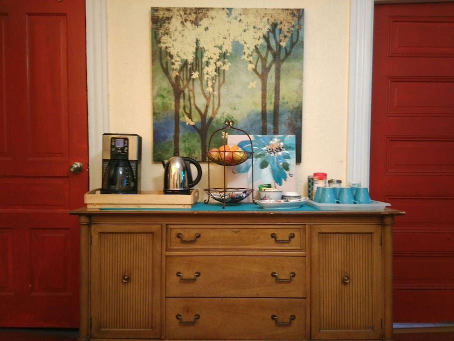 In the morning, help yourself to coffee or tea in our dining room.