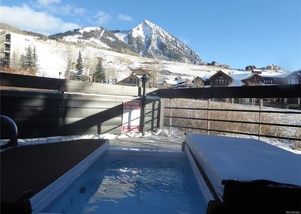 View from oversized hot tub