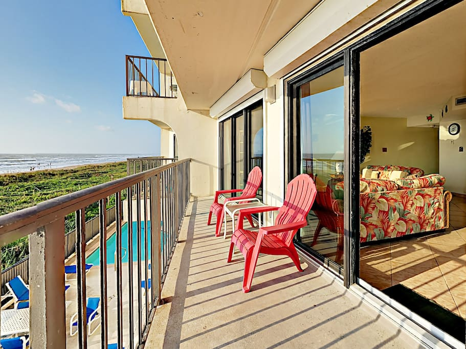The sunny balcony with outdoor seating