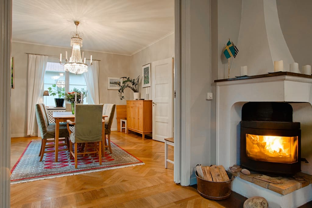Dining room with open fire.