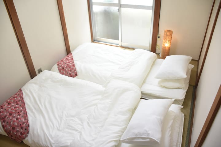 Japanese style room/Two single futons (turned from living room)