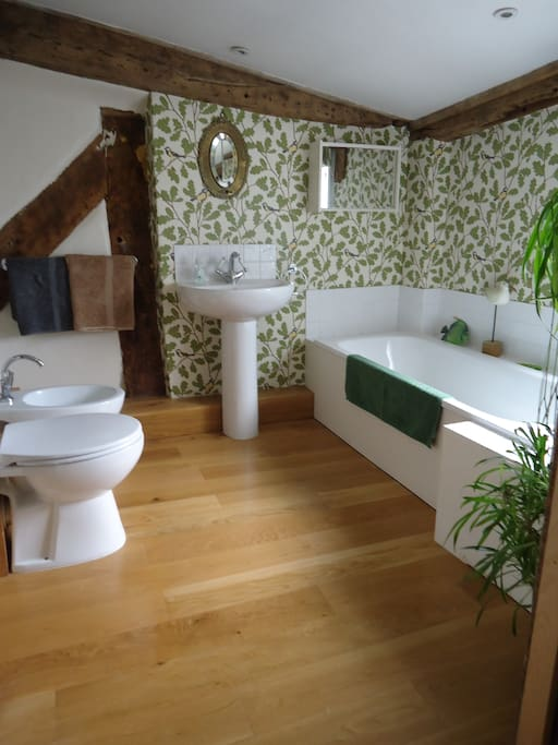 Bathroom with bath, separate shower, toilet and bidet