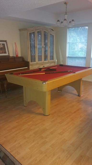 Game area table tennis, pool table,and board games available