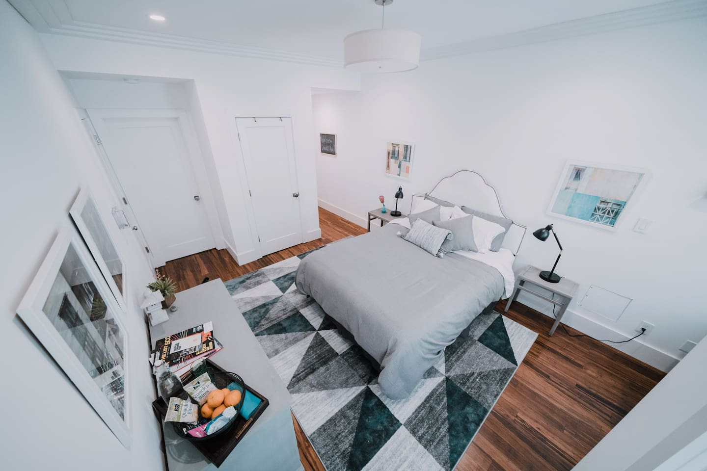 Stylishly appointed, quiet space with queen bed and high ceilings.