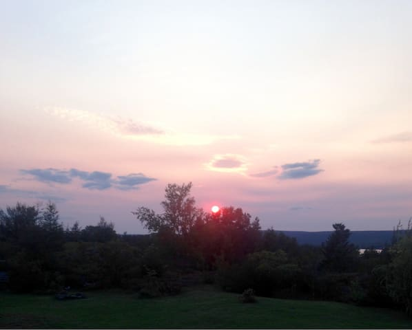 View from the back deck during sundown.