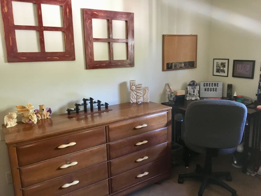 This is an eight drawer dresser and desk to use for your convenience