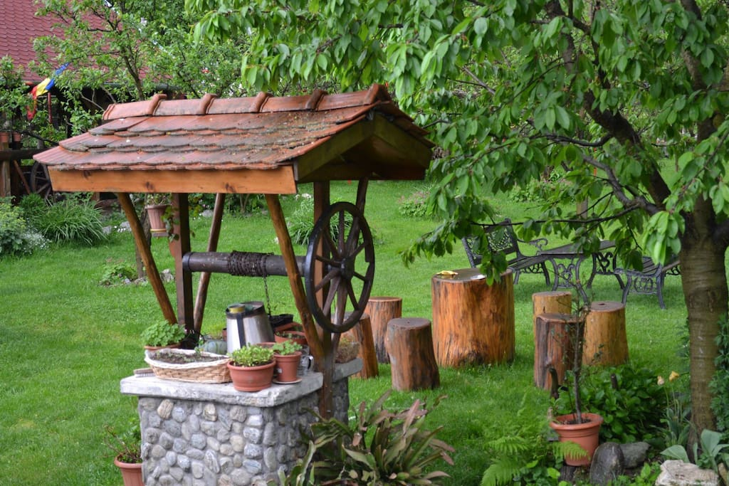 Traditional well in our garden, rustic place to sit outside and enjoy the surroundings.