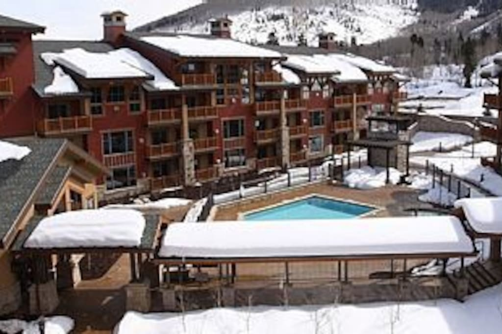 Year Round Heated Pool and Outdoor Hot tubs, view from one of four unit balconies.