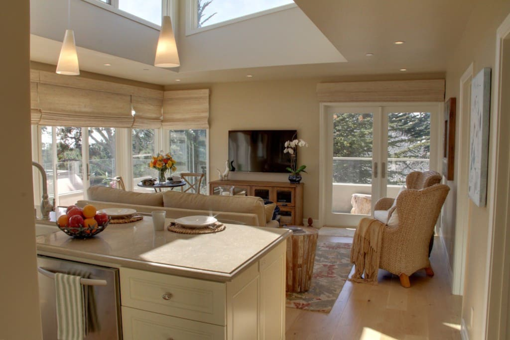 Great Room with Windowed Raised Ceiling Allows for a Feeling of Spaciousness.